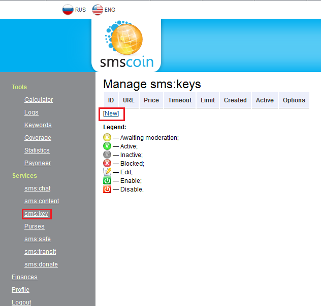 "Select ""sms:key"" service in the section ""Services"". Click ""New"" button"