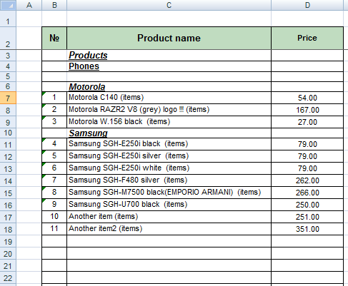 price list template excel