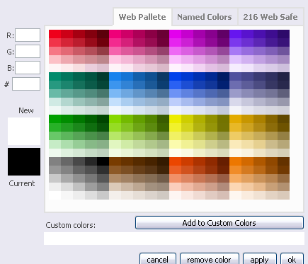 Visual or wysiwyg editor ucoz community for Web page color palette